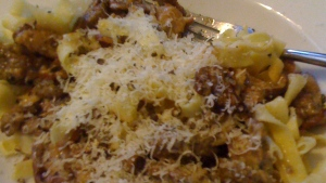sauteed morels and fresh linguine in sherry-cream sauce