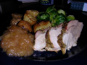 applesauce, roast pork and roast potatoes, brussel sprouts