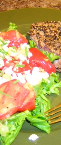 tomato goat cheese salad and tuna au poivre