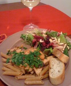 pasta, salad, wine