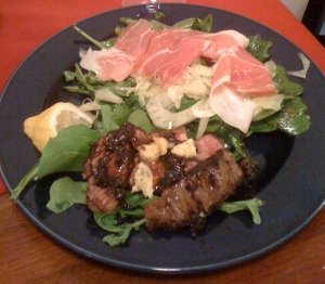 salad w/prosciutto and steak