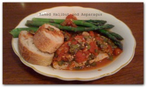 halibut and asparagus