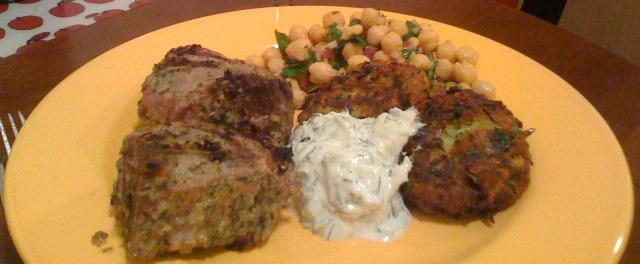 lamb chops zucchini fritters chickpea salad