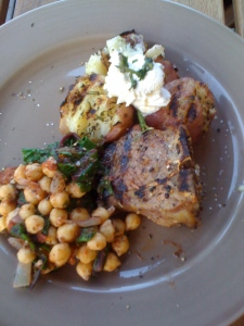 lamb, chickpeas, potatoes