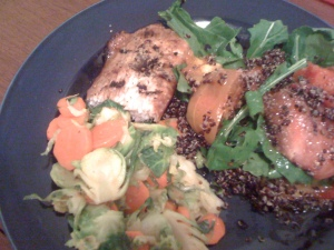 grilled mahi-mahi with brussel sprouts carrots