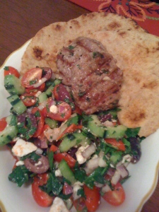 lamb patties, greek chop salad