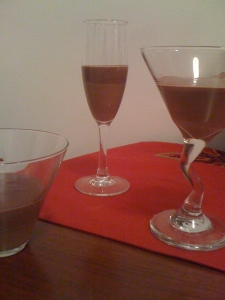 cocolate pudding in martini glasses