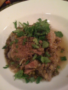 bowl of salted pork and lentils