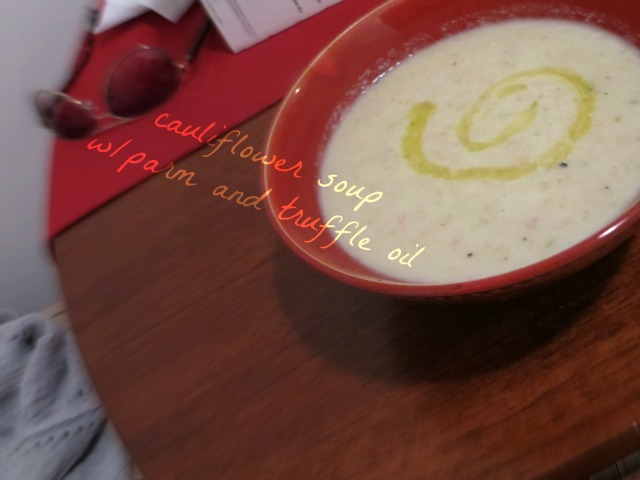 cauliflower soup with arm and truffle oil
